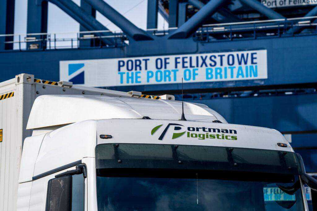 Portman Logistics Lorry beside the crane at Felixstowe Port