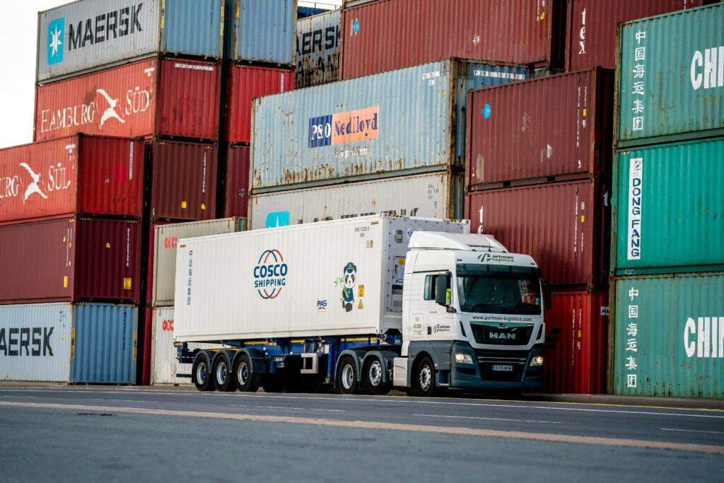 Portman Container Truck with stacked containers